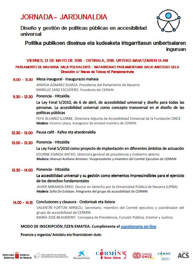 Programa jornadas ACCESIBILIDAD CERMIN