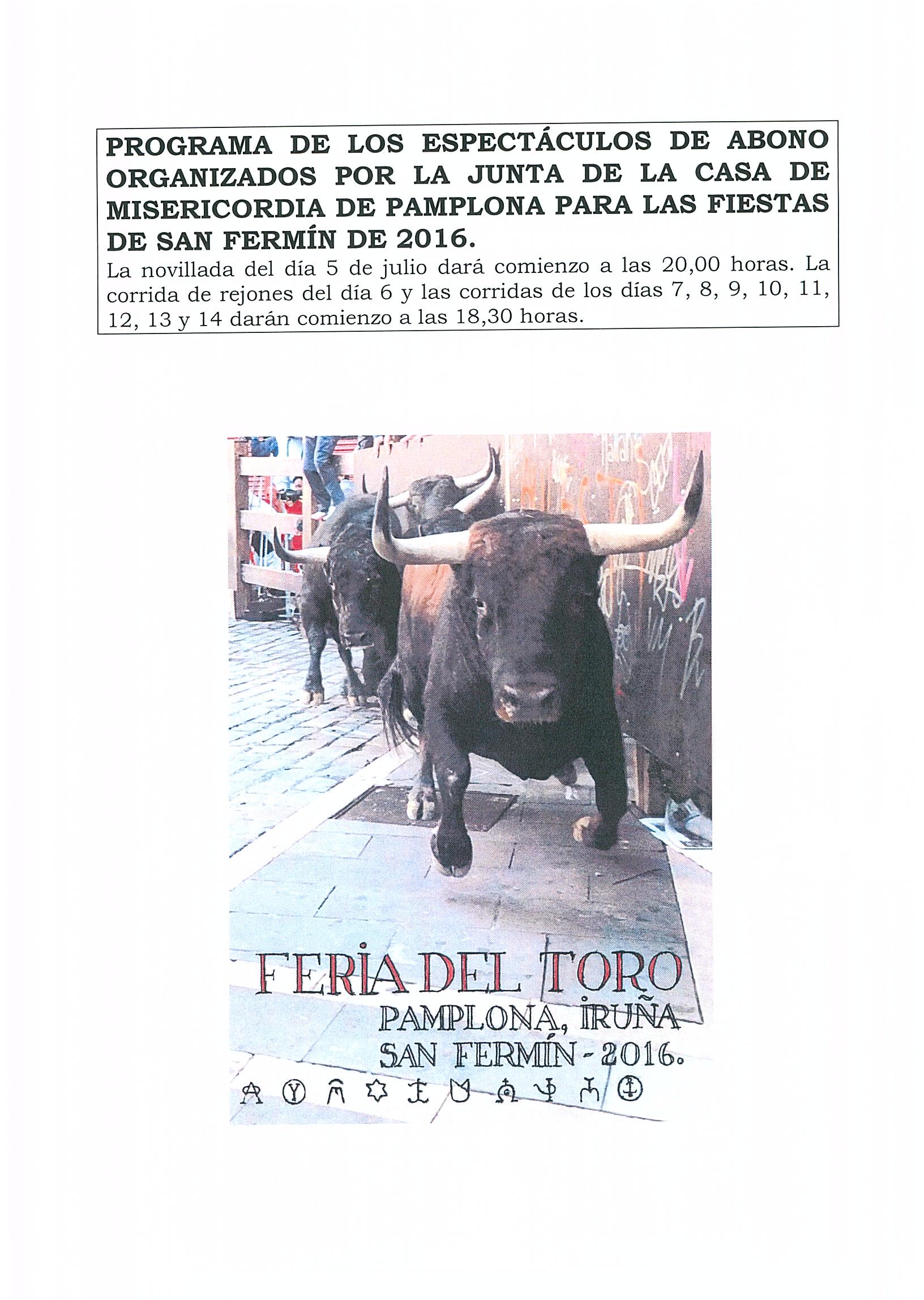 CARTEL FERIA DEL TORO SAN FERMIN 2016