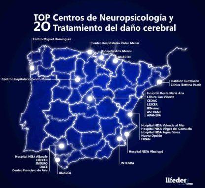 mapa españa marcando ubicación de los 20 centros