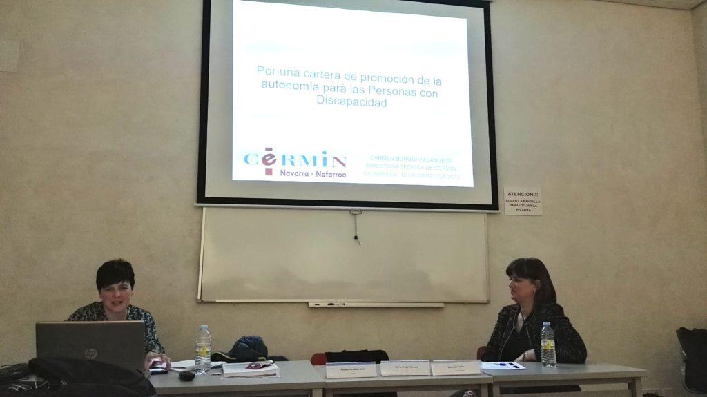 Carmen Burgui presentando la propuesta de Cartera de Servicios Sociales