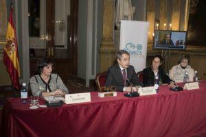 mesa de conferencia con Marta Valencia, José Luis Rodríguez Zapatero y Ana Peláez