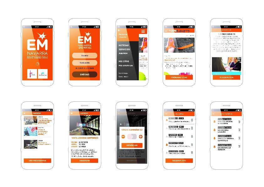 Varios pantallazos de la aplicación