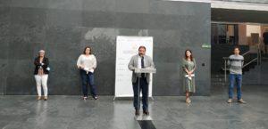 Imagen de la intervención de Unai Hualde en la rueda de prensa