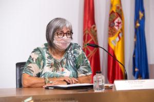 Fotografía de Mariluz Sanz, presidenta de CERMIN, durante su intervención en la presentación del Convenio.