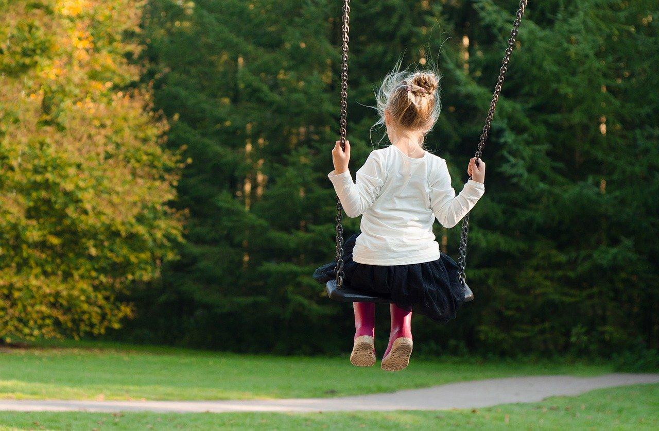 Imagen de una niña sobre un columpio