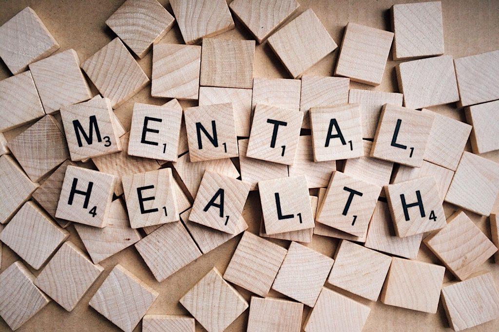Imagen con las palabras salud mental en inglés