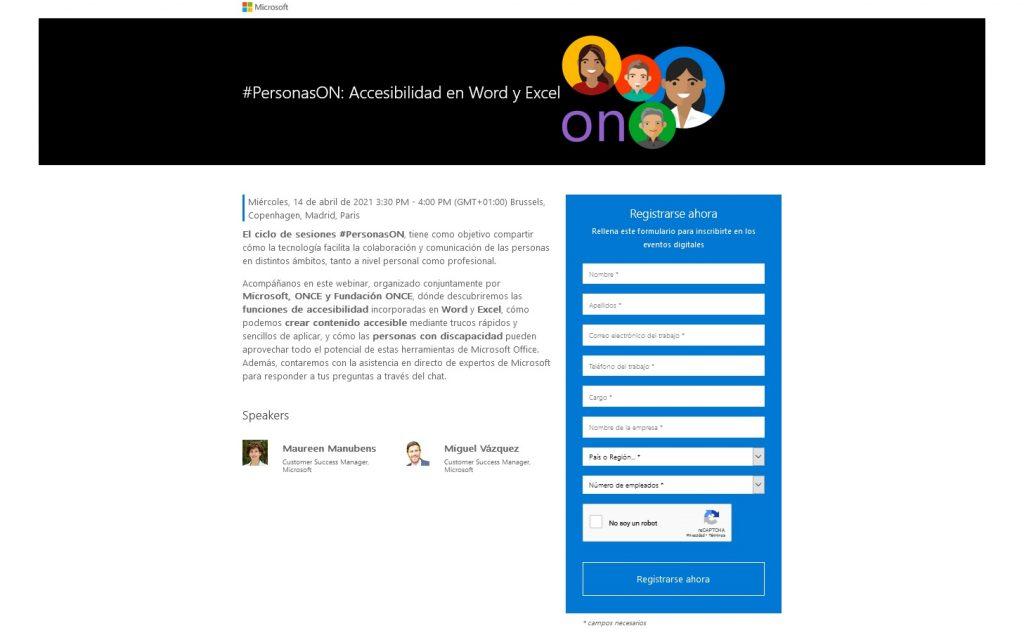 Imagen del pantallazo de la página de inscripción