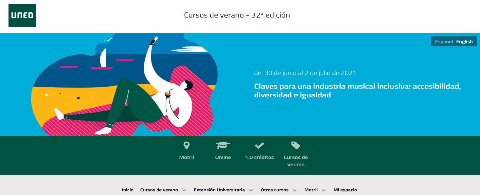 Imagen de la web de la UNED con la información del curso