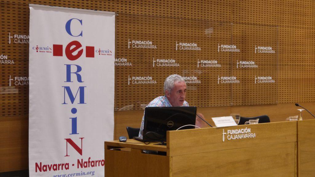 Imagen de Javier Zugasti durante una jornada sobre el baremos de discapacidad organizada por CERMIN